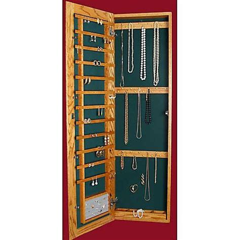 recessed wall mounted wooden jewelry armoire 14 25w x