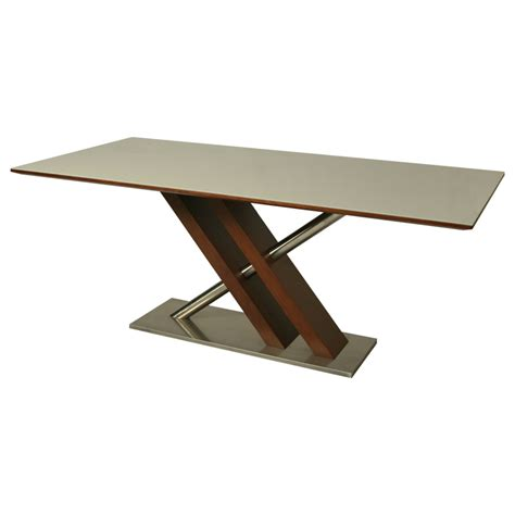 Rectangular Glass Top Dining Table Pastel Charlize Rectangular Glass Top Dining Table In Stainless Steel Walnut Beyond Stores