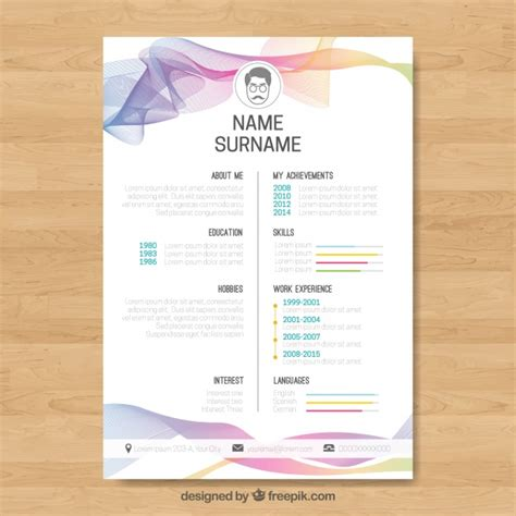 Abstract Curriculum Template With Colorful Waves Vector Free Download Curriculum Flyer Template