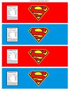 superman superhero water bottle label superhero party