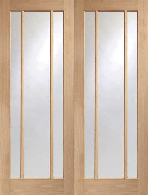Interior Doors Glazed Xl Joinery Oak Worcester Door Pair Clear Glazed