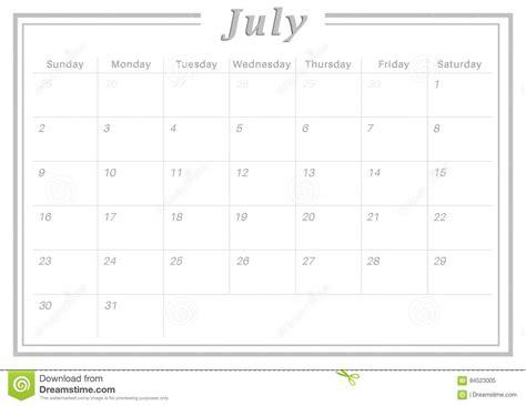 Juli Kalender 2017 Maandelijkse Kalender Juli 2017 Stock Illustratie
