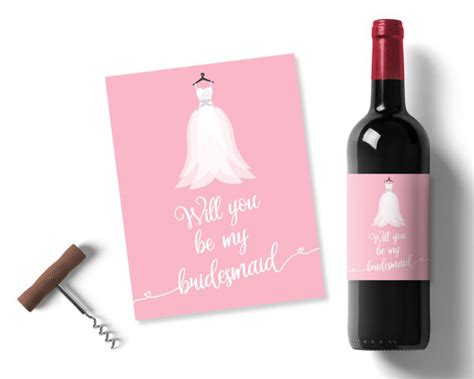 wedding invitation wine bottle labels will you be my bridesmaid wedding favours pink