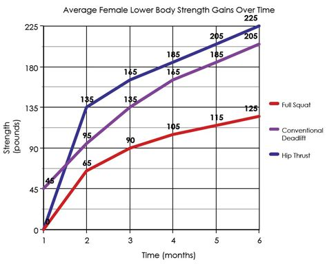 a graph average strength gains a six month period