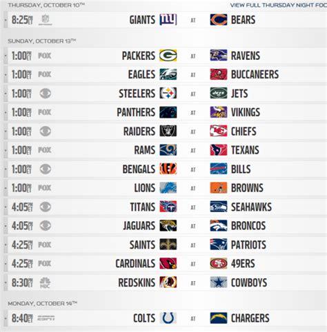 printable nfl football schedule week 6 football week 6 schedule printable
