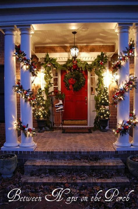 christmas decorating outdoor columns 60 beautifully festive ways to decorate your porch for page 2 of 6 diy crafts