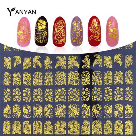August Sale Stiker 3d Flower 108 Pcs aliexpress buy new gold 3d nail stickers 108pcs sheet metallic adesivos mix designs