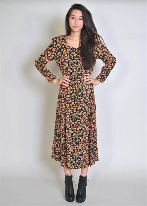 Daster Dress Midi Line vintage floral maxi dress 90s grunge black floral midi dress duster jacket kimono s m festival