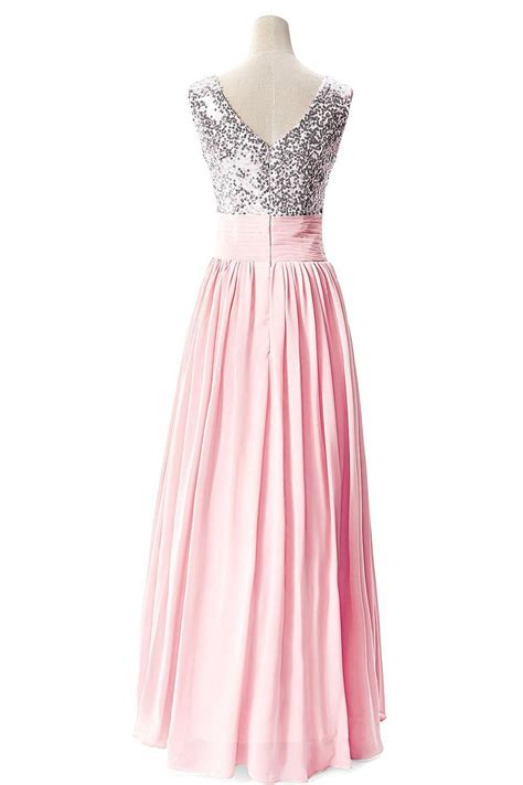 Sequined Prom Dress v neck 2017 prom dresses sequined choffpn cheap