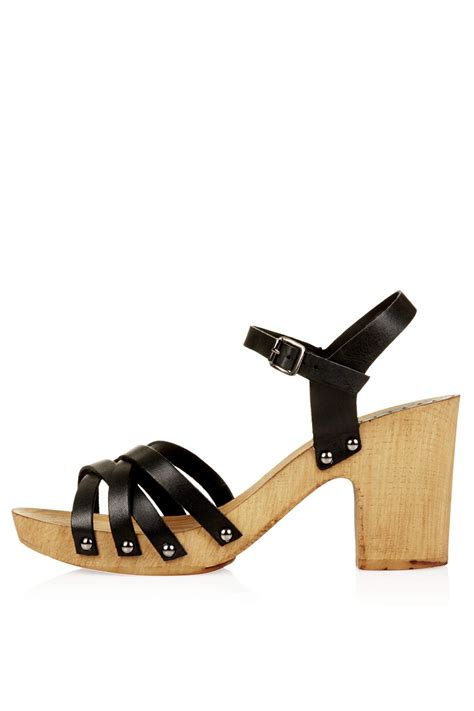 chunky wooden sandals topshop nancy chunky wooden sandals in black lyst