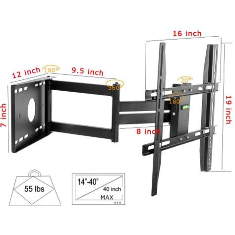 swing out wall mount tv lumsing universal corner tv wall mount bracket with full