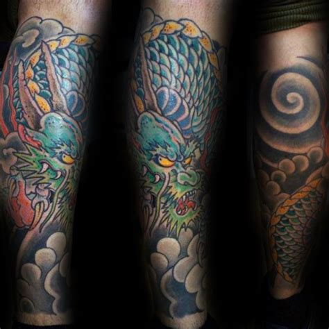 30 dragon leg tattoo designs for men masculine ink ideas