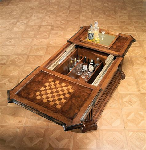 Chess Coffee Table Rustic Coffee Table With Inlaid Chess Board And Interior Wine Rack Rustic Coffee Tables