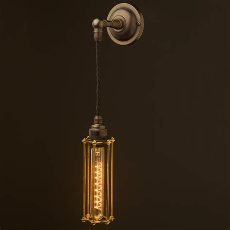 Pendant Wall Light Bronze Medium Bulb Cage Wall Pendant L