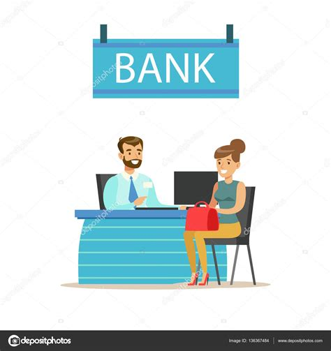Bank Management bank manager at his desk and the client bank service
