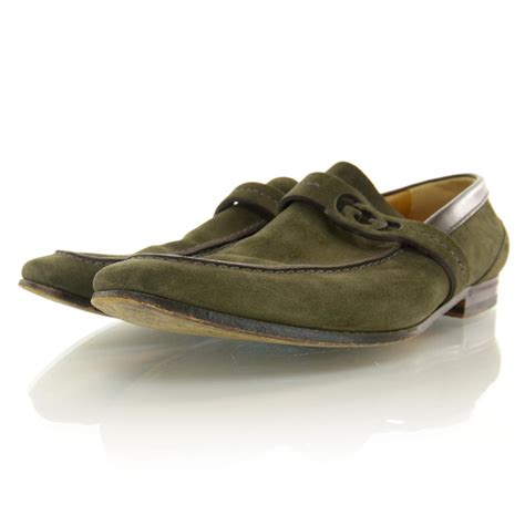 green gucci loafers gucci mens suede loafers 40 green 37272