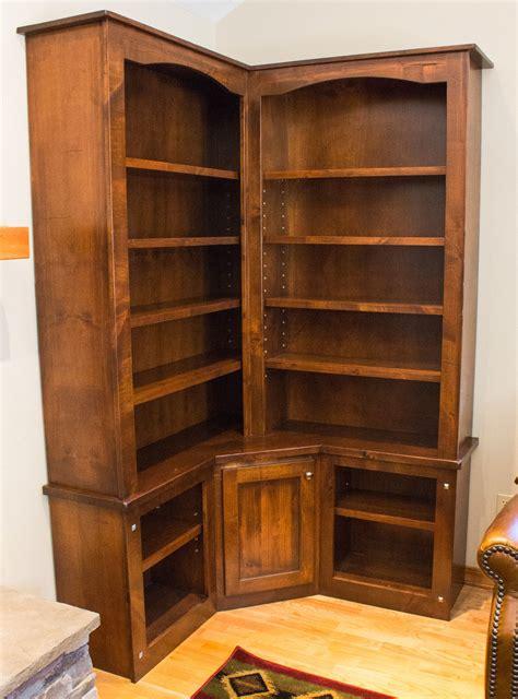 rustic corner bookcase handmade rustic alder custom corner bookcase by brushbacks