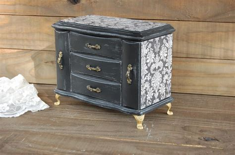 painted shabby chic armoire jewelry box box