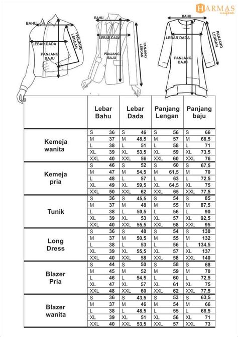 Baju Ukuran standar ukuran konveksi seragam kantor pakaian kerja