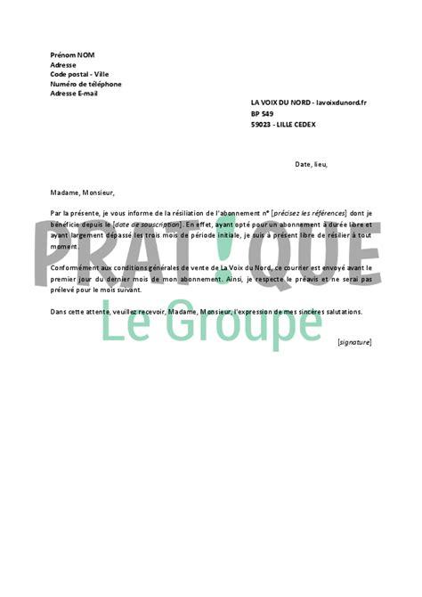 Lettre De Resiliation Journal L Alsace Lettre De R 233 Siliation La Voix Du Nord Pratique Fr