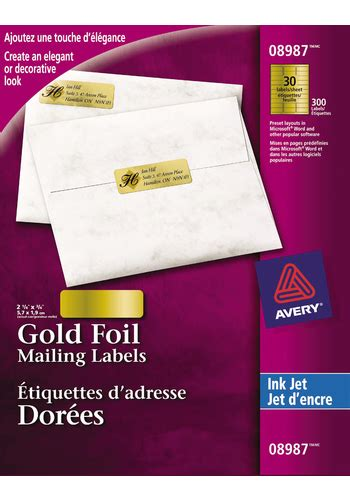 avery foil mailing labels 3 4 x 2 avery 174 8987 gold foil mailing labels 2 1 4 quot x 3 4