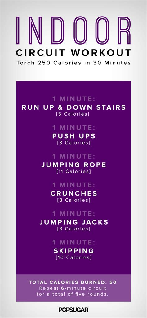 indoor easy circuit workout poster popsugar fitness