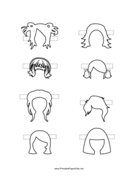 printable pictures of hairstyles paper doll hair styles to color