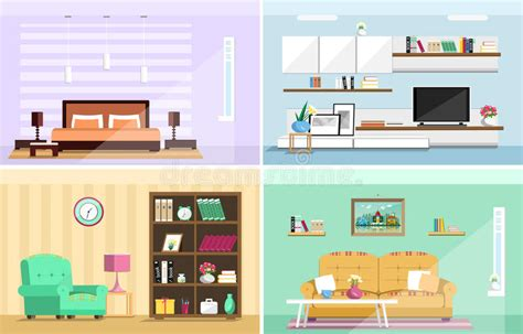 bedroom design vector set of colorful vector interior design house rooms with