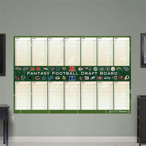 dry erase fantasy football draft board wall decal shop