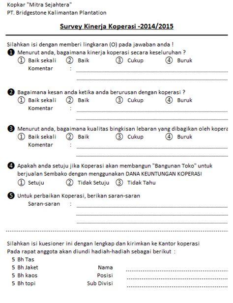 membuat neraca simpan pinjam kopkar mitra sejahtera formulir survey kinerja koperasi 2015