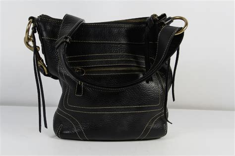 Coach Tote Black Leather Shoulder Bag coach black cowhide leather pebbled zipper tote shoulder
