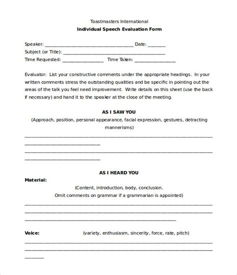toastmasters evaluation template toastmaster evaluation template 20 free word pdf