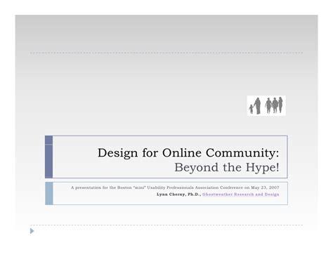 design online community design for online community beyond the hype