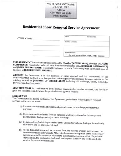 Snow Plow Contract Sample Lawn Care Business Marketing Tips