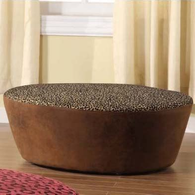 40 round ottoman leopard print and faux leather 40 round ottoman