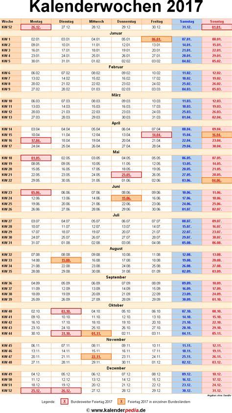 Kalender Mit Kalenderwochen 2017 Kalender 2017