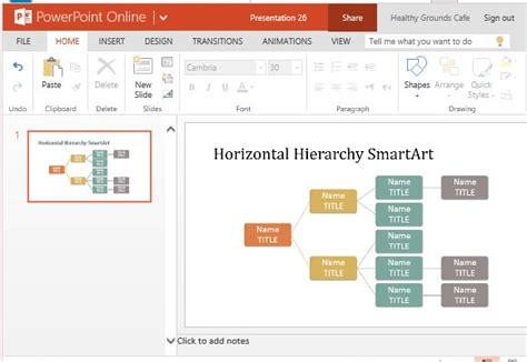 table hierarchy layout powerpoint horizontal hierarchy organization chart template for