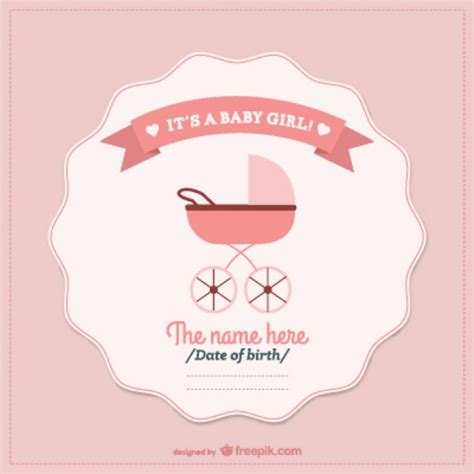 newborn baby card template newborn baby card with a pink pram vector free