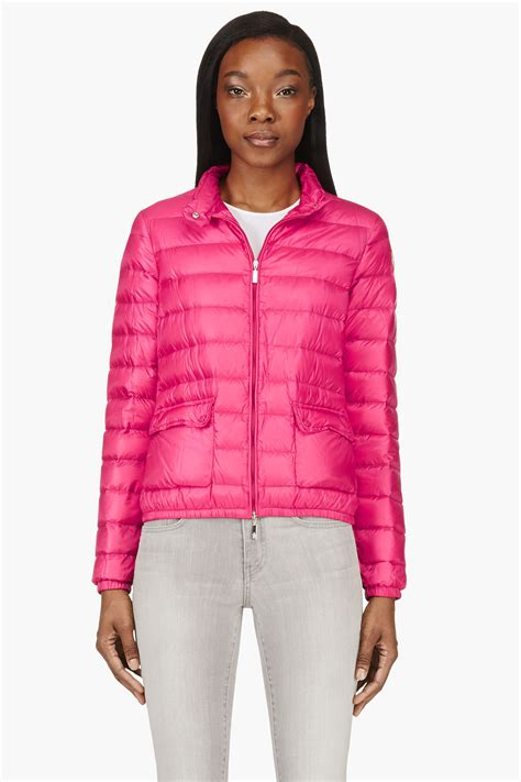 fuchsia jacket lyst moncler fuchsia quilted lans jacket in pink