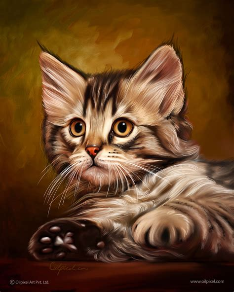 Lukisan Kucing 3 Acrylic Cat Painting cat digital painting professional portrait painting for