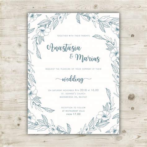 elegant floral wedding invitation template vector free