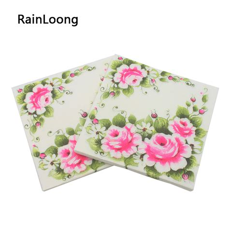 rainloong printed feature pink flower paper napkin event supplies decoration