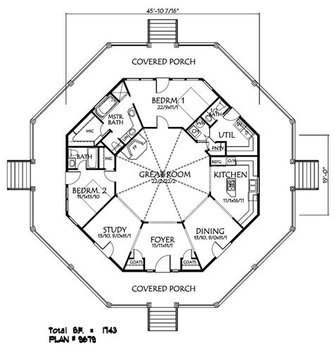 octagon shaped house plans plan 9679 special features 2 bedrooms 2 full baths 1