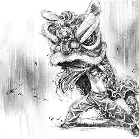 chinese lion dance drawing