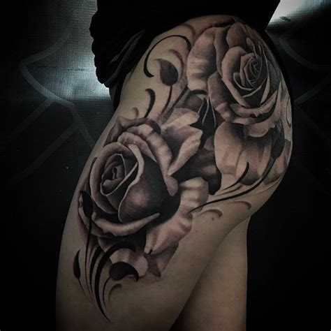 rose tattoo on thigh tattoos on thigh www pixshark images