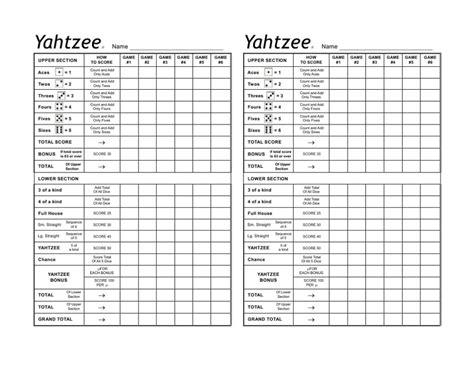 yahtzee score card sheets printable printable yahtzee score sheets card