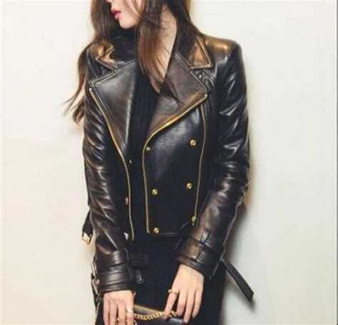 womens leather motorcycle jacket s black moto style genuine leather motorcycle slim