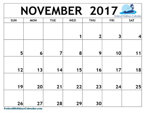 Calendar November 2017 And December 2017 November 2017 Calendar Printable Template Usa Uk Canada
