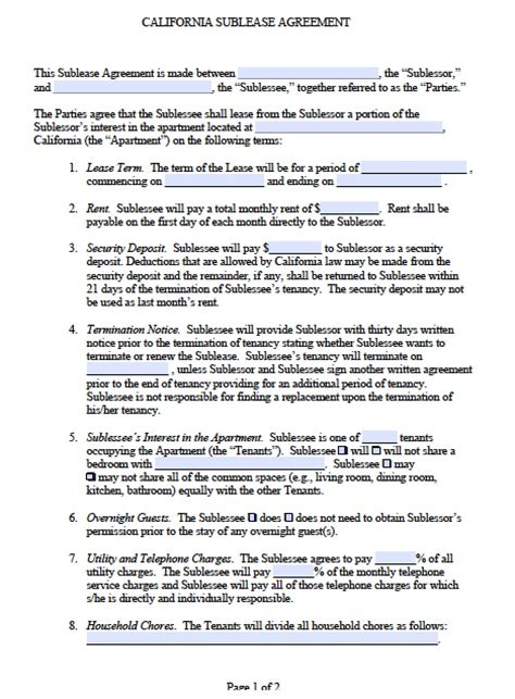 Free California Sub Lease Agreement Pdf Word Doc Sublease Contract Template