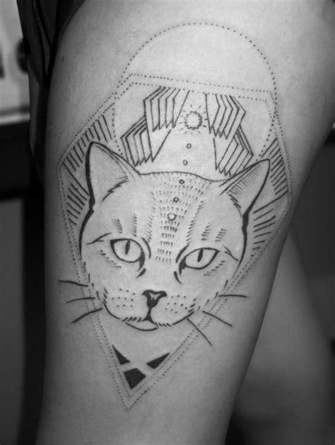 stippling tattoo facu ontivero cat stippling design of
